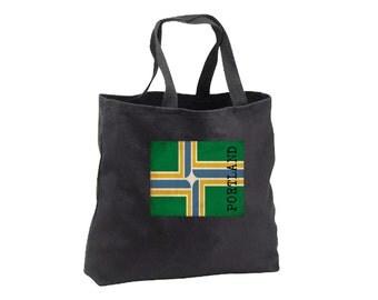 Tote Bag - Portland Flag - Canvas Tote - Book Bag - Portland Oregon
