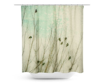 Mint Bathroom Decor Birds Shower Curtain Winter Photography Wildlife Ethereal Decor