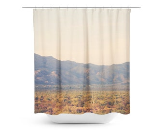 mountain shower curtain desert home decor rustic bathroom decor southwest photo arizona
