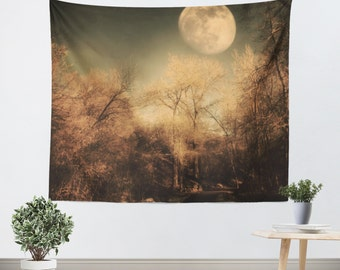Tapestry - Wall Hanging - Full Moon - Unique - Home Decor - Trees - Black - Brown - Gothic - Woods - Woodlands - Nature Tapestry - Steampunk