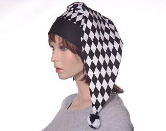 Harlequin Black and White Nightcap Cotton Sleep Hat for Men or Women Jester Stocking Cap Unisex Adult Poor Poet Hat