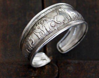 Indian African Elephants silver plated cuff bracelet Bohemian hippie Gypsy stacking bracelet by Inali