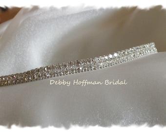 Thin Wedding Headband, Rhinestone Bridal Headband, Crystal Wedding Headpiece, Jeweled Bridal Headpiece, Crystal Hair Piece, No. 6000HB, SALE