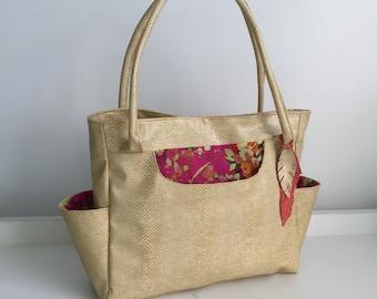 Lemon faux snakeskin 4 pocket shoulder bag with floral print lining- diaper bag, weekender, customizable