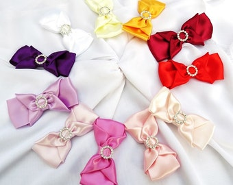Girls Hairbows Clip Headband Scrunchie Special Occassion Satin Hairbows Pick your Color