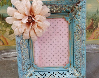 Vintage Chippy Chipped Altered Shabby Chic Cottage Blue Turquoise Photo Frame