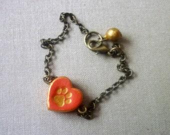 Small Paw Bracelet - Pet memorial - Personalized Pet Jewelry - Dog Paw Bracelet - Dog Name
