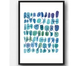 Watercolor painting Blue dots connected Abstract watercolor art , watercolor print