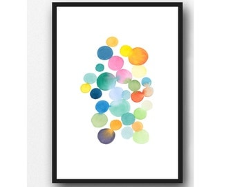 Watercolor colored dots colorful wall decor watercolor print abstract watercolor painting, Nursery decor spring feeling