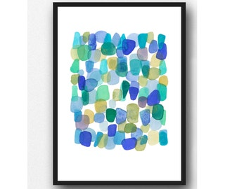 Watercolor painting, Sea Glass, Watercolor blue green, watercolor print, Abstract painting, nautical style