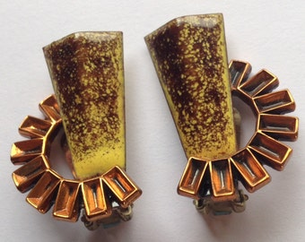 Sale Vintage Matisse Enamel Earrings Yellow Brown Copper Modernist