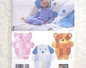 Rag Quilt - Wall Hanging - Child's Throw - Longia Miller Design - Simplicity 4993 - Cat - Dog - Bear - Patchwork Quilt
