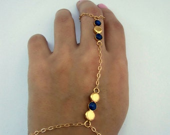 14k Gold Vermeil Slave Bracelet with 5mm Lapis Gemstones