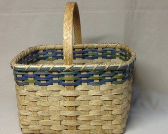Square Market Style Basket - Hand Woven,  Shades of Blue and Green Accent Rows