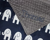 ELEPHANT Baby Blanket, PERSONALIZED Baby Blanket, Navy and Gray Blanket, Double Minky, Custom Blanket, Baby Boy Blanket - Choose Your Colors