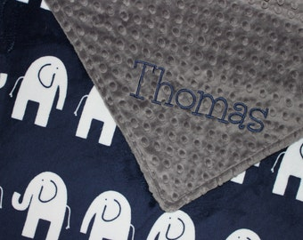 ELEPHANT Baby Blanket, PERSONALIZED Baby Blanket, Navy and Gray Blanket, Double Minky, Custom Blanket, Baby Boy Blanket - Choose Your Colors