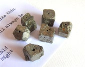 Pyrite Nugget Beads, Jewelry and Beading Supplies, Gorgeous Natural Raw Pyrite, Chunky Stones, 6pcs