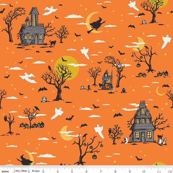 Halloween Fabric Riley Blake Happy Haunting C4670 Orange ...