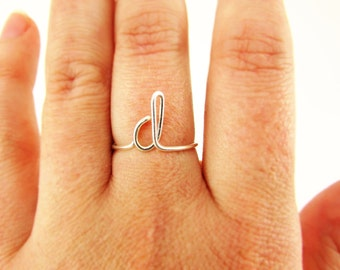 Initial Ring, Letter Ring Sterling Silver or Gold, A - Z Letters Custom Made Simple Ring Pinky Ring Bridesmaid Thank You Ring Gift Under 10
