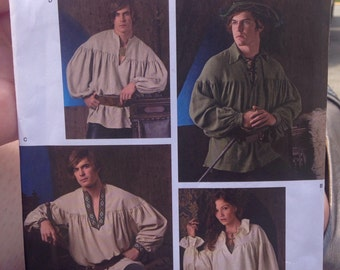 Simplicity 3519 Size A XS-XL Mens Unisex Pirate Poet Romantic Shirt Sewing Pattern