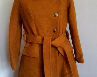 Mod Mustard Yellow Wool Coat Vintage Mod Coat 1970s