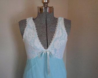 Vintage Aqua Nightgown Super Soft Mad Men Style