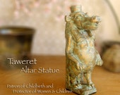 Taweret Altar Statue - Handcrafted Figure of the Egyptian Hippopotamus Deity -Patron of Childbirth, Rebirth, The Northern Sky and Protection