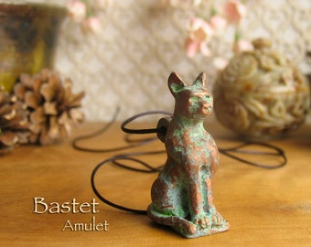 Bastet/Bast Amulet - Protective Goddess of Ancient Egypt - Handcrafted Polymer Clay Cat Pendant with Aged Copper Patina Finish