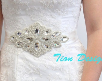 Bridal Rhinestone Sash | Beaded Crystal Sash | Couture Brides Belt, SB-03
