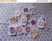 15  Embossed Cottage Chic Hang Tags with Paper Flowers - Handmade - Favors - Gift wrapping