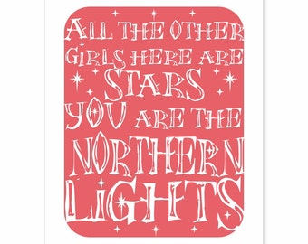 Typography Art Print - Northern Lights v1 - in coral pink with white song lyrics and stars