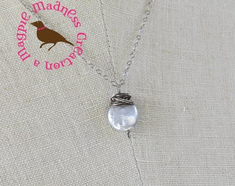 Gray Coin Pearl Necklace, Oxidized Silver, Wire Wrap Gray Coin Pearls, Oxidized Sterling Pearl Pendant Necklace, by MagpieMadness, Etsy