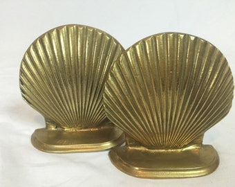 Set of 2 Heavy Brass Shell Bookends