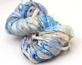 "Recycled Sari Ribbon ,by the yard, ""Bluetarian"" hand dyed chiffon ribbon, jewelry making, doll clothing, spinning supplies"