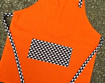 Kids apron, youth apron, teen apron, cooking apron, art apron, childrens apron, childs apron, orange checkered apron, bib apron, medium size