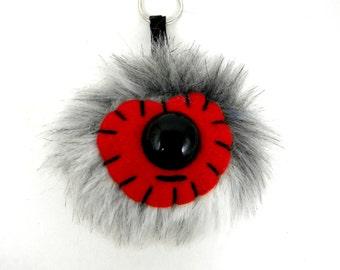 Pom Pom Keychain Faux Fur Monster Keychain Kawaii bag accessory bag accessories handbag charm Grey Red Cylops