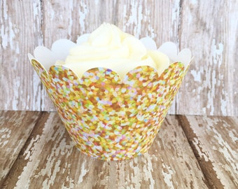 24 gold glitter cupcake wrappers, gold sparkle cupcake wrappers, gold wedding cupcake wrappers, gold and pink cupcake wrapper