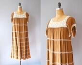 1970s Crochet Dress / Airy Island Dress / 70s