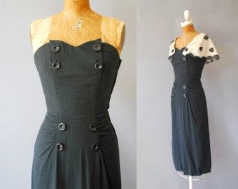 1950s Linen Dress / Strapless or Capelet Dress / 50s