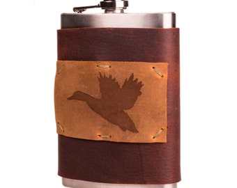 Kodiak Brown 8 oz Leather + Stainless Steel Flask with Flying Duck (F8-61)