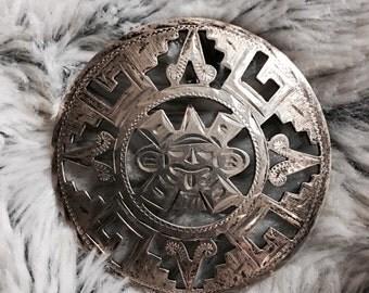Silver Mexican Brooch (Aztec)
