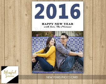 Custom Photo Holiday Card / Digital File / Happy New Years / Holiday Card / DIY Printable / Polkadot New Years