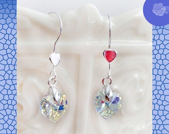 Hook Earrings Clear Swarovski 10mm Crystal Hearts Silver-Plated Bale Sterling Silver Heart Ear Wires Blue White Shimmer Sparkle Multicolor