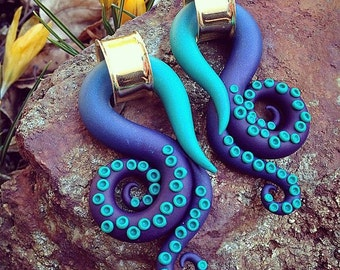 Choose Your Color Tentacles - Earrings for Stretched Lobes - Gauges
