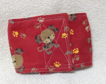 """Male Dog Belly Band Pet Britches Diaper Wrap  Cotton Flannel Doggies  On Red Or Blue  Size To 30"""""""