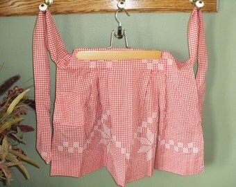 Vintage Red and White Gingham Chicken Scratch Apron with Pocket