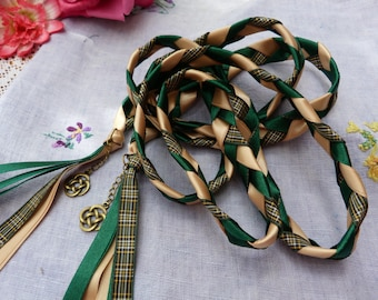 Irish national - Handfasting cord- Tartan, green and yellow - celtic knot charms