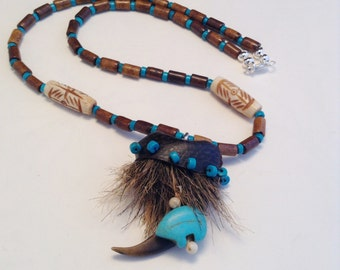 Faux Bear Claw Necklace with Beaded Cap