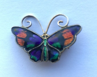 REDUCED David Andersen NorwayVintage Sterling Silver Orange Purple Green Enamel Butterfly Pin Brooch
