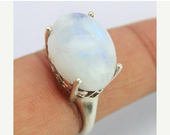 VALENTINE SALE 55% Rainbow Moonstone Sterling Silver Ring 1605RG